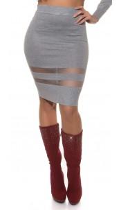 Sexy Koucla finednitted-highwaist-skirt,transpaten Grey