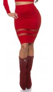 Sexy Koucla finednitted-highwaist-skirt,transpaten Red