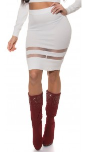 Sexy Koucla finednitted-highwaist-skirt,transpaten White
