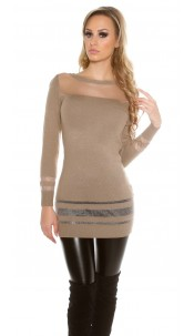 Sexy KouCla fine knit longjumper with sexy insight Cappuccino