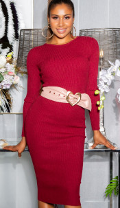 Sexy KouCla ribbed knit dress with lacing Antiquepink
