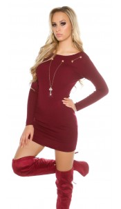 Knitted dress with detachable chain Bordeaux