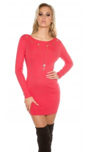 Knitted dress with detachable chain Coral