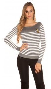 Trendy KouCla jumper in navy look Grey
