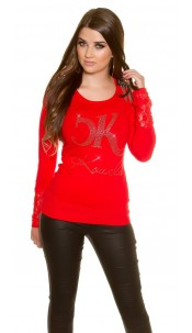Trendy Koucla fine knit pullover with lace Red