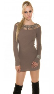 Trendy Koucla knitted dress with lace Cappuccino