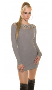 Trendy Koucla knitted dress with lace Grey