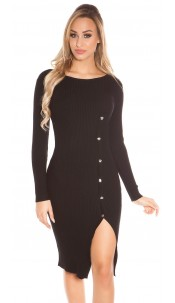 Sexy KouCla Ripp Knit dress w. deco buttons Black