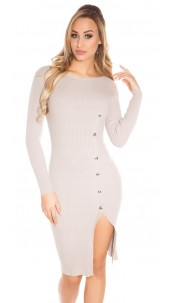 Sexy KouCla Ripp Knit dress w. deco buttons Cappuccino