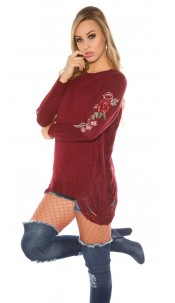 Trendy KouCla Long jumper with patches Used Look Bordeaux