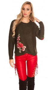 Trendy KouCla knit jumper with embroidery Khaki