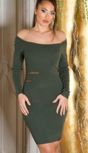 Sexy KouCla fine knit dress with sexy insight Bordeaux