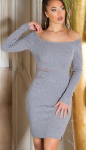 Sexy KouCla fine knit dress with sexy insight Grey