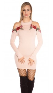 Sexy KouCla coldshoulder knit dress w. embroidery Antiquepink