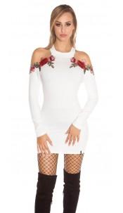 Sexy KouCla coldshoulder knit dress w. embroidery White