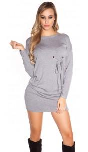 Sexy KouCla longsleeve minidress w. eyelets Grey