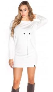 Sexy KouCla longsleeve minidress w. eyelets White