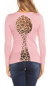 Sexy KouCla sweater with leo pattern for lacing Antiquepink