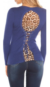 Sexy KouCla sweater with leo pattern for lacing Navy