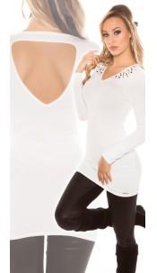 Sexy KouCla longsweater with studs and cutout Cream