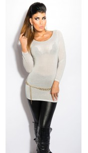 Sexy KouCla Lurex-Jumper with cutout on back Silver