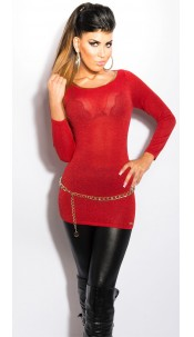 Sexy KouCla Lurex-Jumper with cutout on back Coral