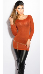 Sexy KouCla Lurex-Jumper with cutout on back Ochre