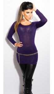 Sexy KouCla Lurex-Jumper with cutout on back Purple
