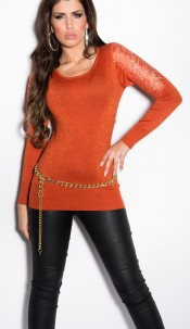 Sexy KouCla lurex-Party Jumper with lace Ochre