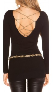 Sexy KouCla longsweater with chains Black