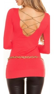 Sexy KouCla longsweater with chains Coral