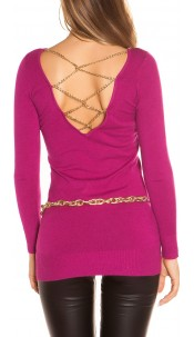 Sexy KouCla longsweater with chains Fuchsia