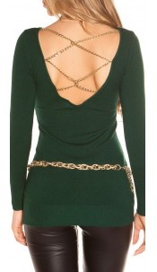 Sexy KouCla longsweater with chains Green