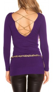 Sexy KouCla longsweater with chains Purple