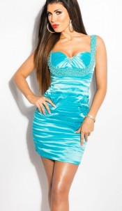 Sexy KouCla cocktaildress with pearls Turquoise