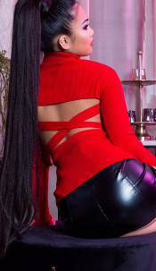 Sexy KouCla Turtleneck jumper w. back cut out Red