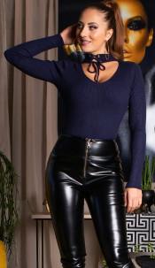 Sexy v-hals geribde trui marineblauw