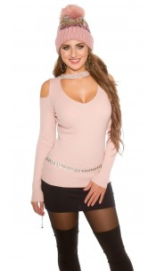 Sexy KouCla Ripp jumper with Cut Out & Rivets Antiquepink
