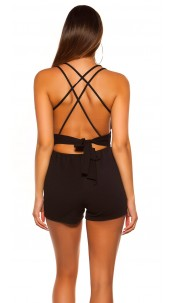 Sexy KouCla straps playsuit with bow Black