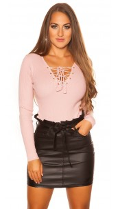 Sexy KouCla sweater with V-Cut lacing Pink