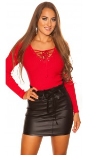 Sexy KouCla sweater with V-Cut lacing Red