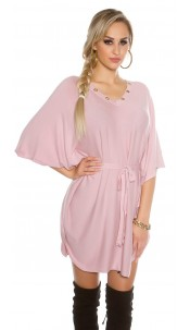 bat sleeve knit dress Antiquepink