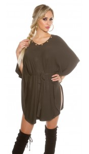 bat sleeve knit dress Khaki