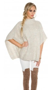 chunky knit poncho with turtleneck White