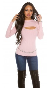 ribbed sweater with sexy d�collet� Rose