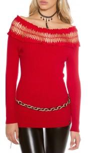Sexy fijn gebreide trui met carmen hals rood