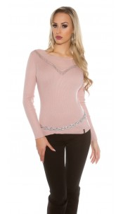 sweater with mesh Antiquepink