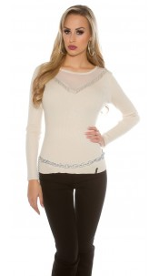 sweater with mesh Beige
