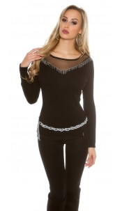 sweater with mesh Black