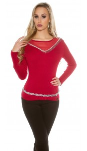 sweater with mesh Red